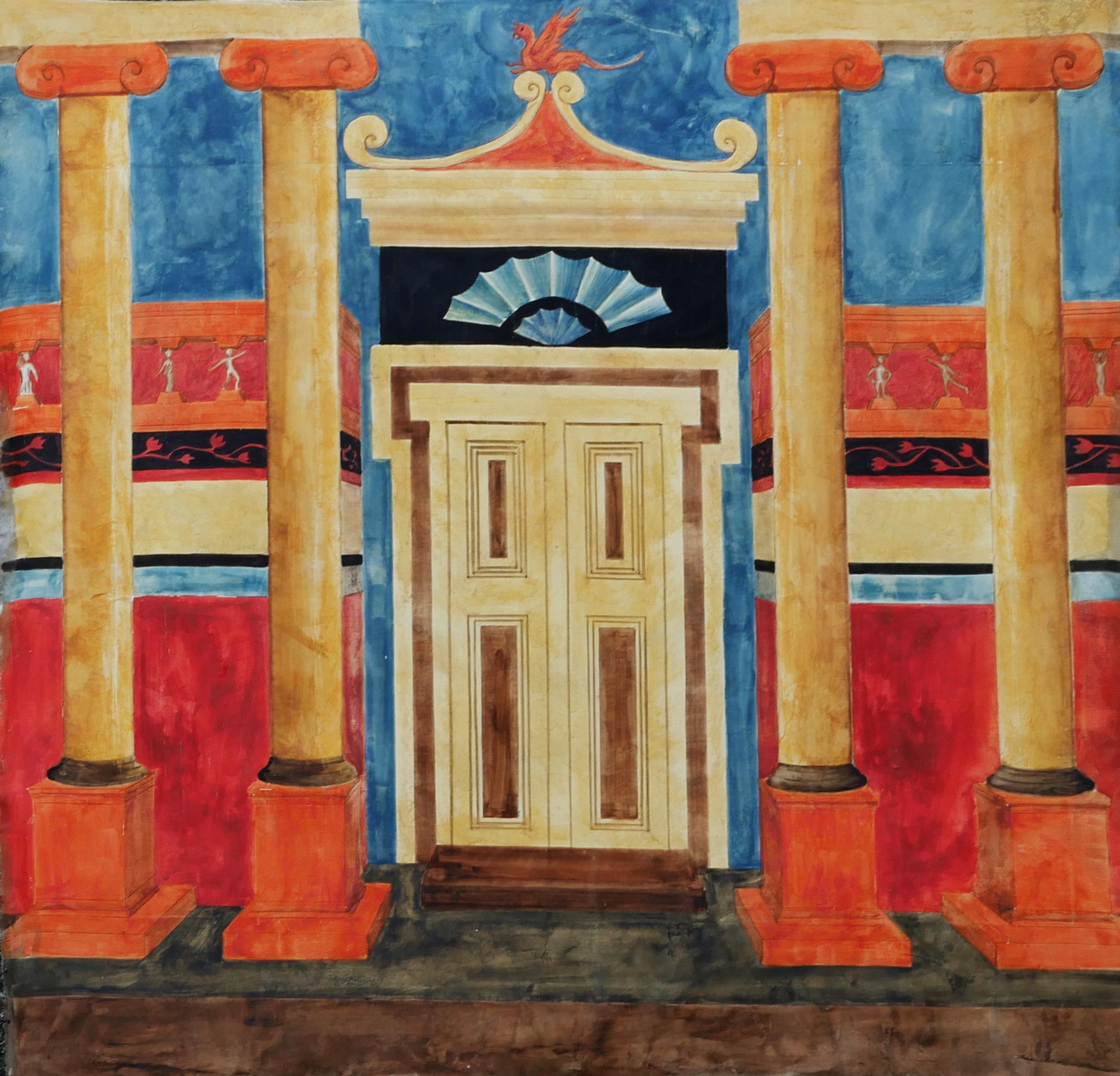 Décor pompéien sur tissus, peinture à l'huile. Assilem décors, peintre en décor Bordeaux, décoration intérieure, peintre décoratrice