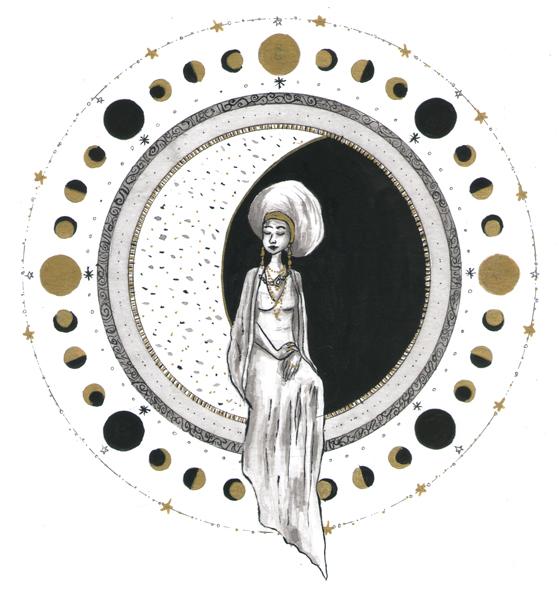 Illustration sélénite, femme et lune, encre, Assilem décors, peintre en décor Bordeaux, décoration intérieure, peintre décoratrice