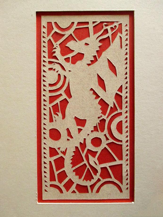 Carte dragon en papier découpé, paper art, Assilem décors, peintre en décor Bordeaux, décoration intérieure, peintre décoratrice