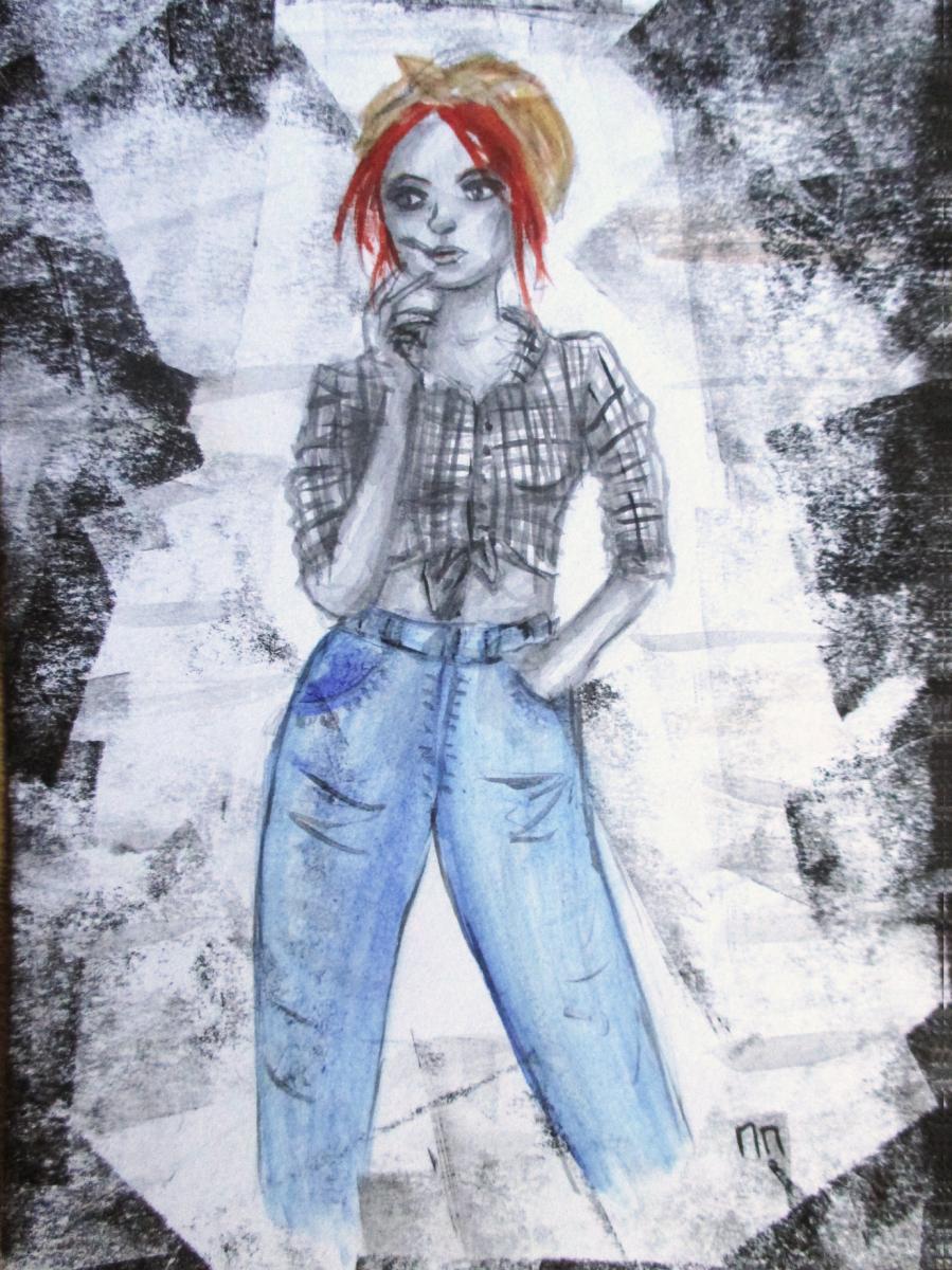 Illustration Femme qui fume 50's, aquarelle, Assilem décors, peintre en décor Bordeaux, décoration intérieure, peintre décorateur