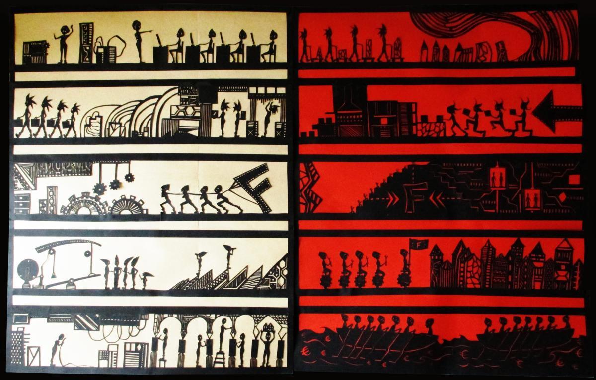 Fresque Mécanique en papier découpé, paper art, Assilem décors, peintre en décor Bordeaux, décoration intérieure, peintre décoratrice