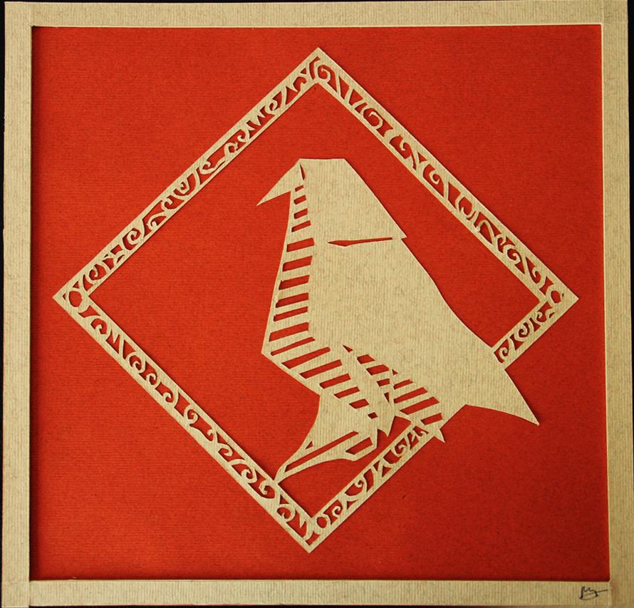 Oiseau blanc en papier découpé, paper art, Assilem décors, peintre en décor Bordeaux, décoration intérieure, peintre décorateur