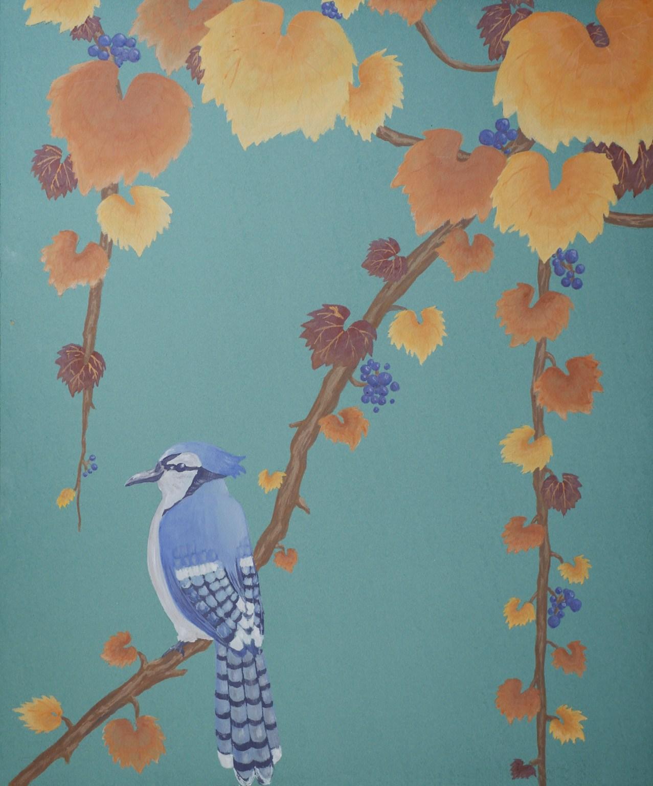 Décor Geai bleu et feuilles de vignes, inspiration estampe japonaise, peinture écologique, Assilem décors, peintre en décor Bordeaux, décoration intérieure, peintre décoratrice