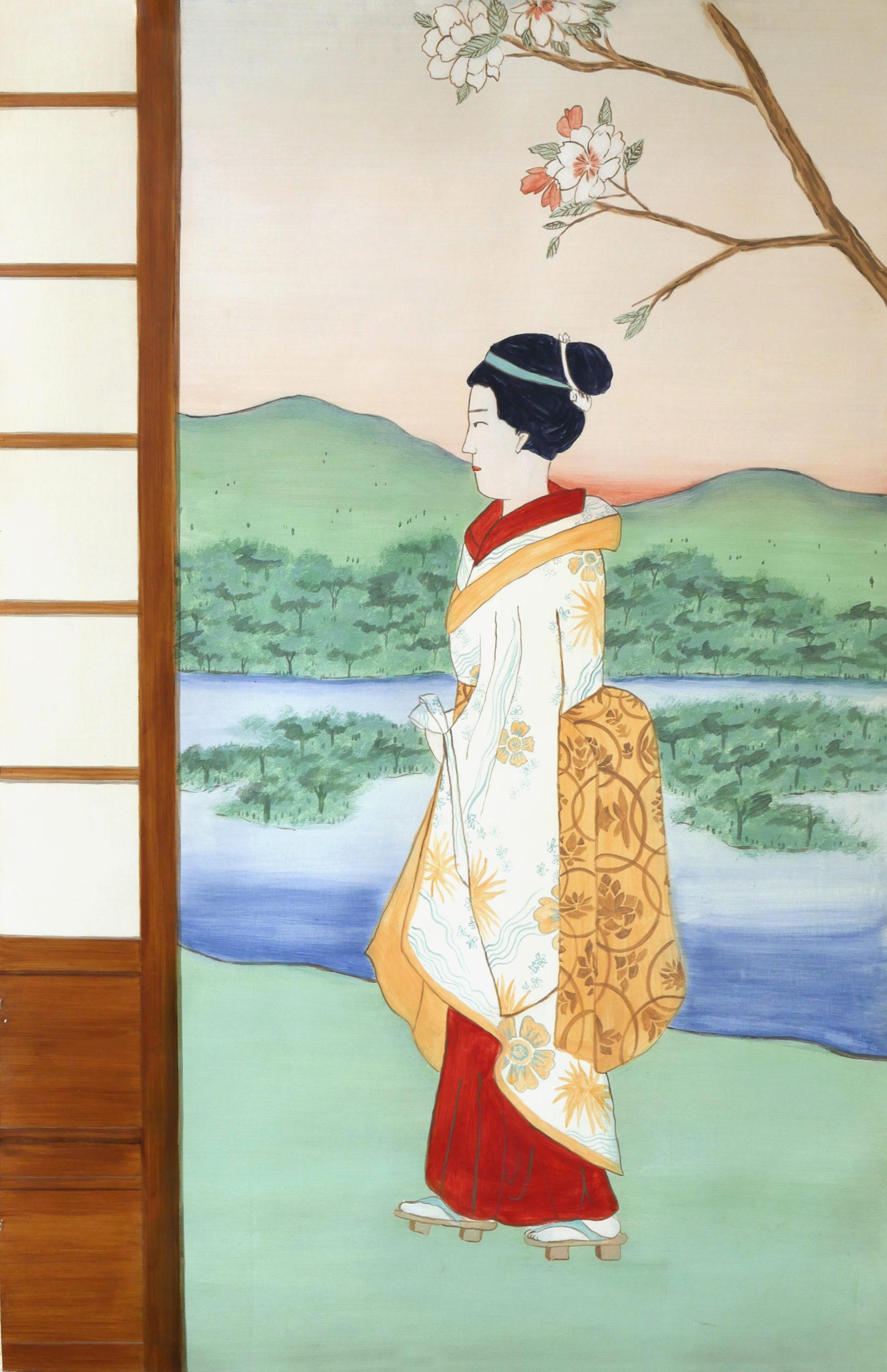 Peinture murale façon estampe japonaise, peinture à la caséine, technique ancienne. Assilem décors, peintre en décor Bordeaux, décoration intérieure, peinture décorative