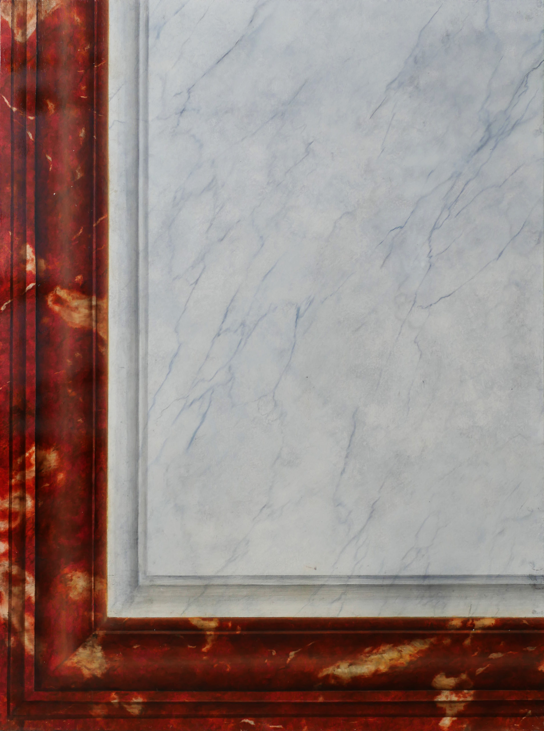 Décor imitation marbre rouge Languedoc et blanc veiné, faux marbre, effet de matière. Assilem décors, peintre en décor Bordeaux, décoration intérieure, peintre décorateur
