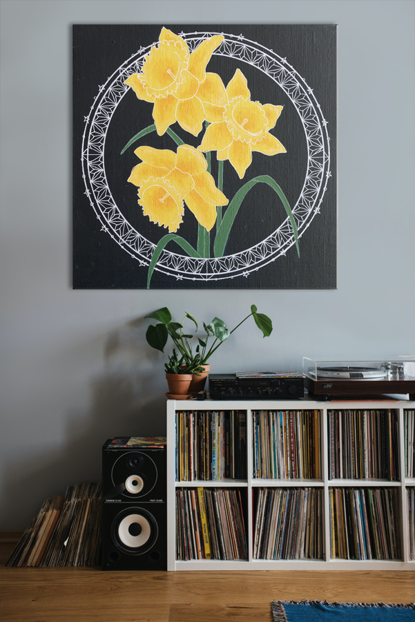 Peinture de jonquilles dans un décor d'intérieur avec étagère à disques et plante, Assilem Décors peintre en décor Bordeaux peinture décorative