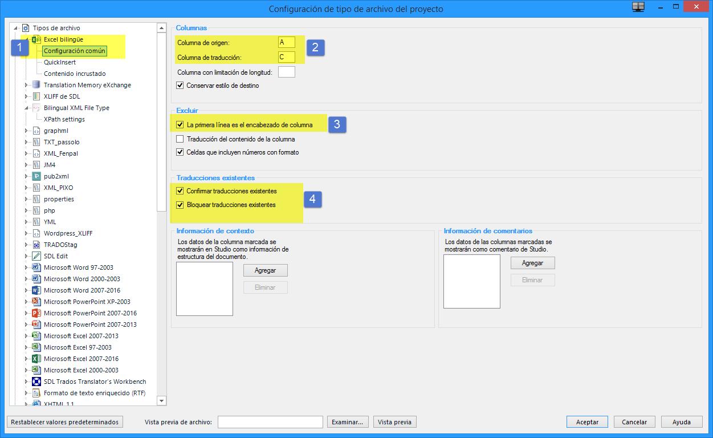 Configuración del filtro Excel bilingüe en Studio