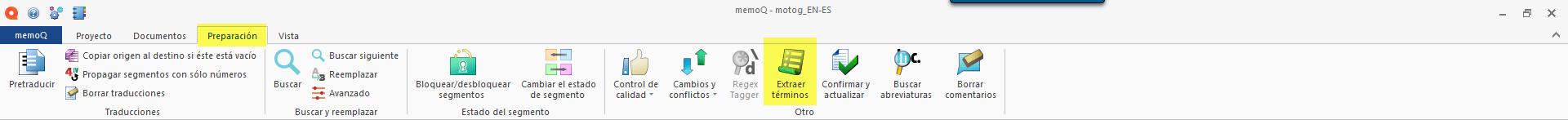 Extracción de terminología de memoQ