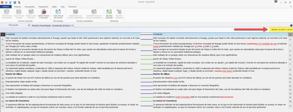 memoQ compara la versión antigua de nuestra traducción con la de los archivos traducidos con cambios