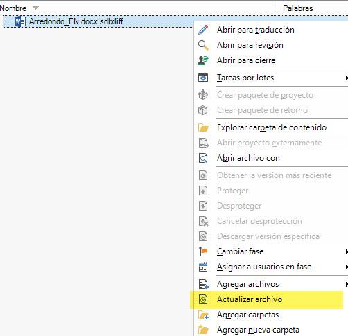 Con el botón secundario del ratón accedemos a la función Actualizar archivo.