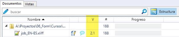 memoQ indica el número de versión de un archivo en la columna V.