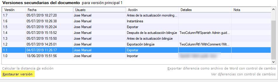 Se puede restaurar una versión secundaria en concreto de un archivo.