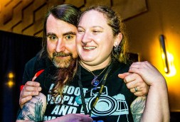 Melodie posing with Glen Graham while covering the Blind Melon 2016 New Year's shows at the Lafayette Theater in Lafayette, Indiana