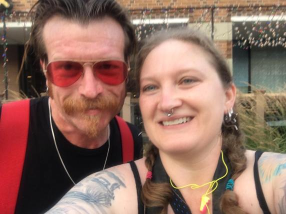 Melodie grabs a selfie with Jesse Hughes outside the Vogue while shooting Eagles of Death Metal with The Battery Electric in June 2017