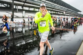 Channel 13 delights a few lucky participants with donuts as they enjoy their lap around the Indianapolis Motor Speedway despite the rain during the Annual OneAmerica 500 Festival Mini-Marathon on Saturday, May 4, 2019.