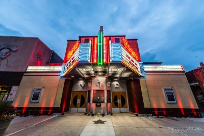 The Vogue Theatre is illuminated in red light as part of the #RedAlertRESTART Day of Action on Tuesday, September 1, 2020. Photo cred Melodie Yvonne