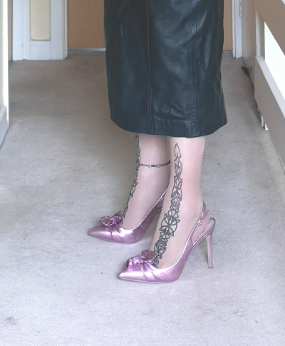 Purple Slingbacks with Toe Decoration