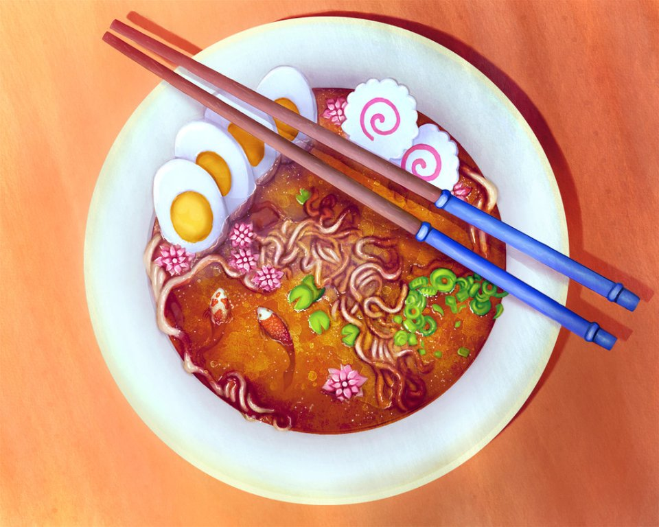 Ramen Surreal Painting by Melody Nieves