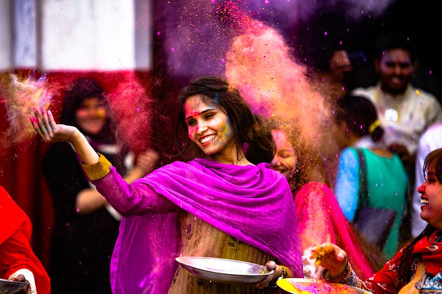 Playing Holi in Crowd
