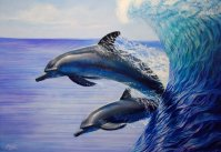 Dolphins Surf Oil painting by Melody Owens