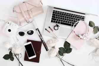Travel purse headphones iphone sunglasses roses