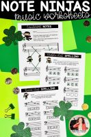 Note Ninjas music worksheets for St. Patrick's Day