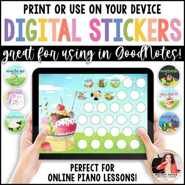 Digital stickers for digital piano practice charts by Melody Payne www.melodypayne.com