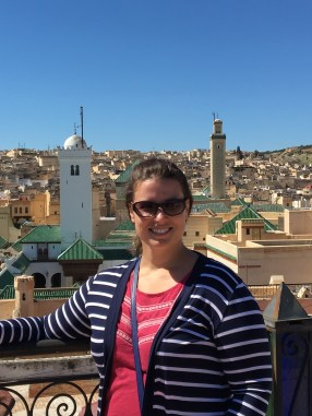 On a rooftop in the center of the Fes medina. Minarets of the old university behind me.