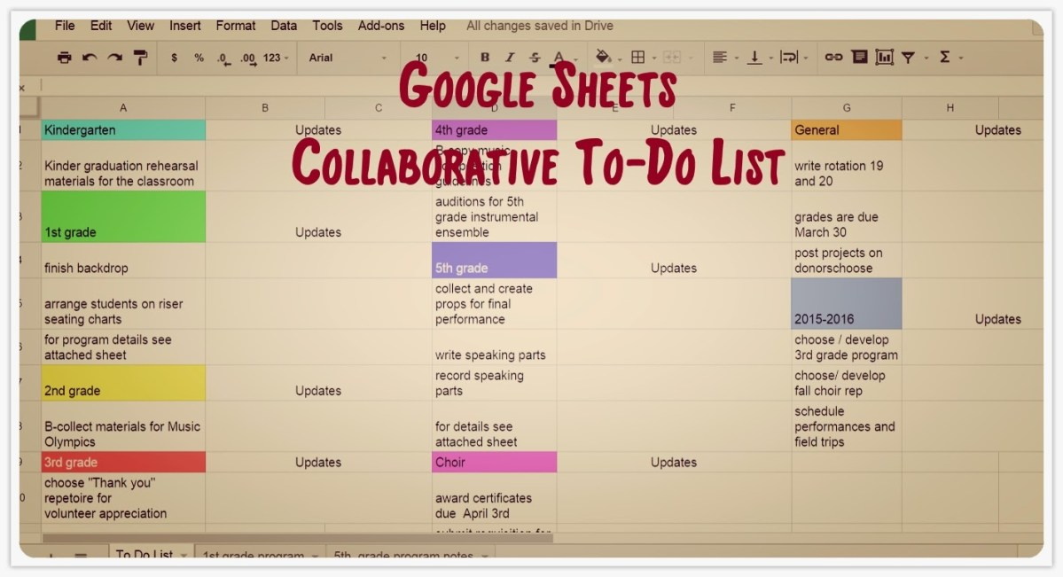 The Collaborative To-Do list!  - Google Sheets to the Rescue