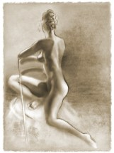 """Charcoal of figure Twisted 11""""x14"""" $55 on watercolor paper >>"""