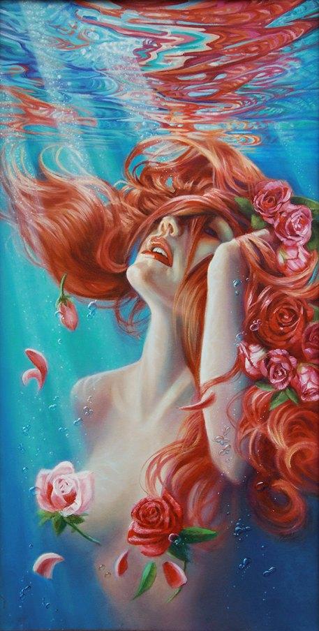 emerging-oil-underwater-mermaid-painting-bubbles-flowers-art