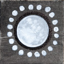 moon, july, new moon, full moon, painting, art, fantasy, mysterious art