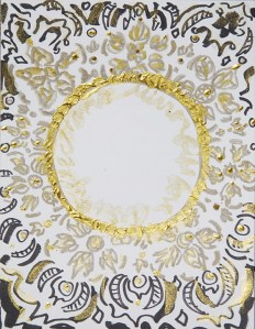 moon, gold, new moon, full moon, painting, art, fantasy, mysterious art