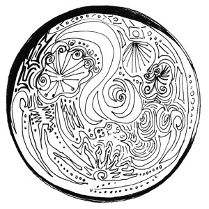 moon, zen doodle, new moon, full moon, painting, art, fantasy, mysterious art