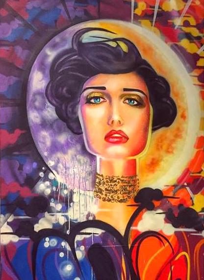 graffiti moon goddess mural spray paint street art