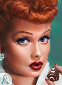 I love lucy and chocolate oil painting by Melody Owens