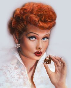 Lucille Ball & Chocolate, I love lucy painting progressing by Melody Owens