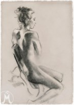 "Charcoal of figure facing right on chair 11""x14"" $55 on watercolor paper >>"