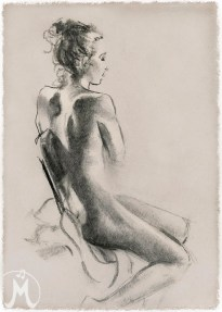 """Charcoal of figure facing right on chair 11""""x14"""" $55 on watercolor paper >>"""