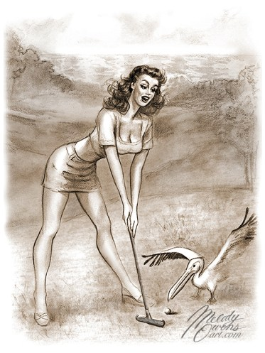 Sketch of pinup 50s style girl golfing at Pelican Hill Melody Owens
