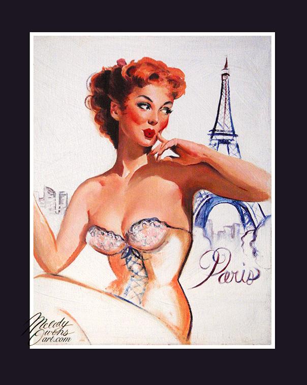 Redhead paris retro pinup 50s elvgren style oil painting melody owens