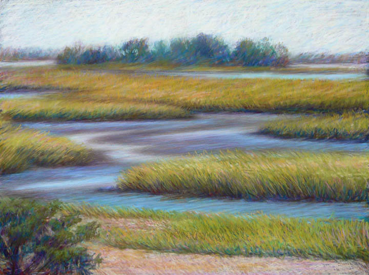 Pastel Study of Marshes by Melody Phaneuf