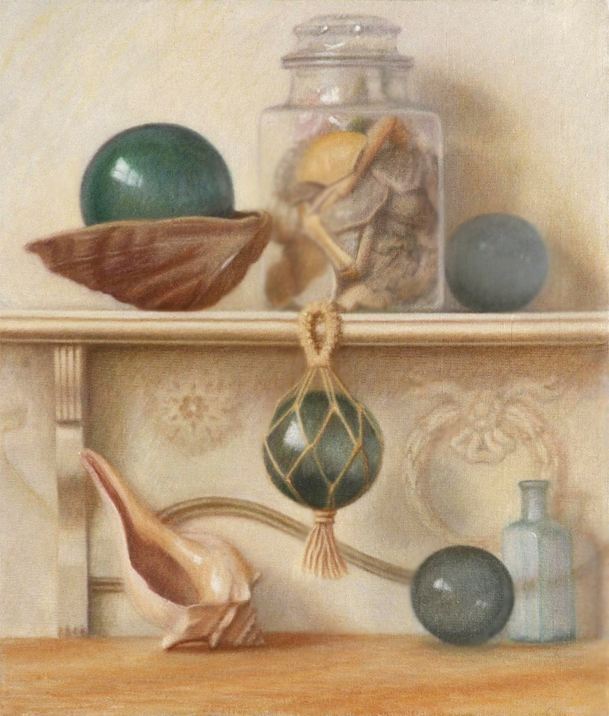 Oil painting of glass floats and shells by Melody Phaneuf