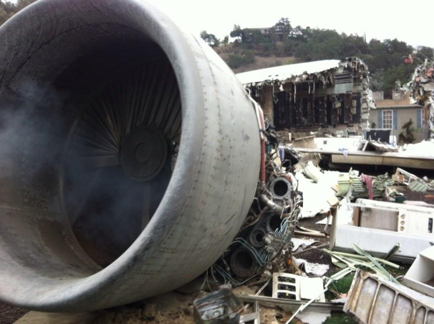 escenario de avión accidentado en los estudios de Universal