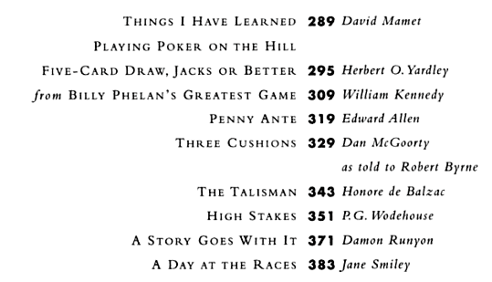Lyons, The Greatest Gambling Stories Ever Told, Contents 2