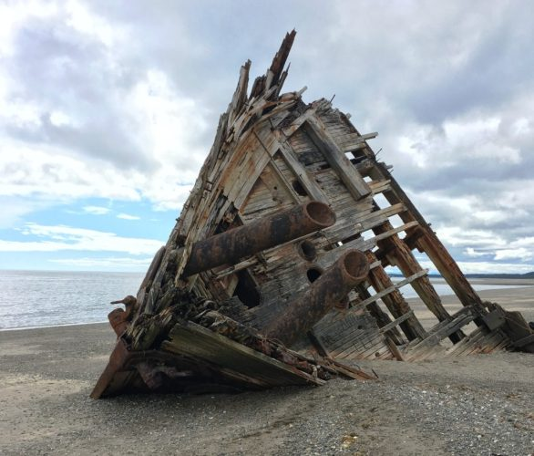 The Pesuta shipwreck on Graham Island, an apt visual metaphor for Haida Gwaii's commercial fishing industry.