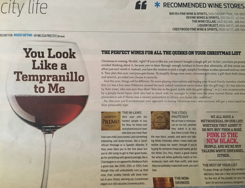 SEE Magazine wine column, December 2007