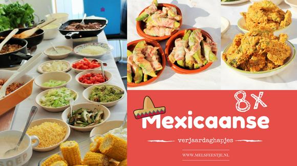 Mexicaanse verjaardagshapjes home - Recepten voor verjaardag hapjes - Mexicaans tortilla buffet - mini burrito - Mels Feestje