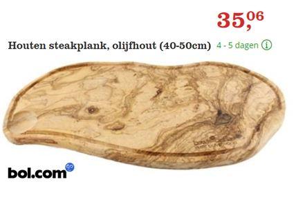 Houten Steakplank. Olijfhouten serveerplank met langs de rand een sapgootje, speciaal voor het serveren van BBQ en vleesgerechten. Tip: de achterkant van de plank kan als normale tapasplank gebruikt worden. Perfect voor je dikke vettige sappige Camping Steak