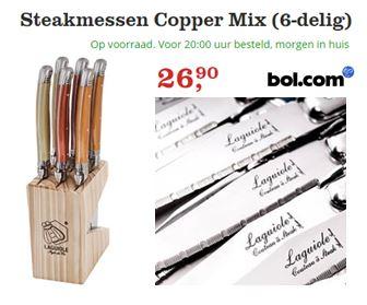 Steakmessen. Laguiole Style de Vie Premium Line Steakmessen Copper.  Set van 6 luxe steakmessen in houten messenblokje.  De heften van de Copper steakmessen set zijn in mooie kopertinten.